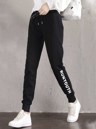 Women's Active Pants Print Solid Color Tapered/Carrot Mid Waist Casual Elastic Waist Letter