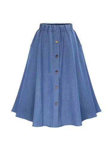 Women's Skirt High Waist Ruffles A Line Solid Color Casual Button Midi Mid Waist