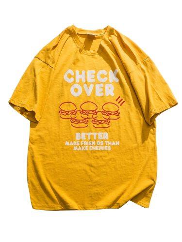 Men's T Shirt Letter Crew Neck Loose School Print Short Sleeve Casual
