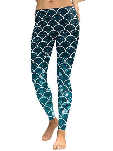Women's Leggings Print Patchwork Low Waist Casual Slim Floral Print Ninth