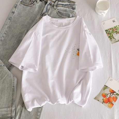 Women's T Shirts Regular Celebrity&Elegant Polyester Embroidery Loose Casual Crew Neck Short Sleeve