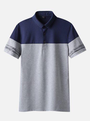 Men's Polo Shirt Fashion Slim Short Sleeve Turn Down Collar Colorblock Casual