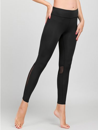 Women's Leggings Fashion Solid Color Ninth High Waist Slim Casual Patchwork