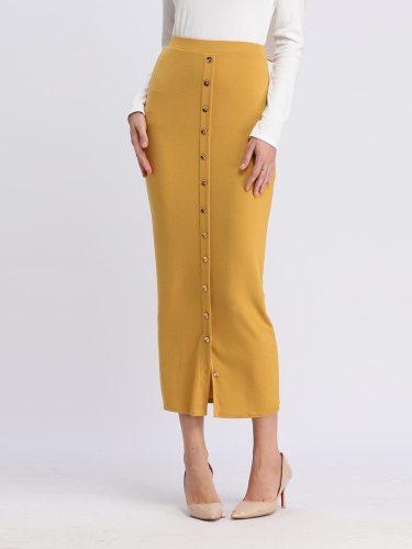 Women's Skirt Stylish Solid Midi High Waist Bodycon Button