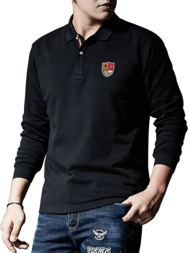 Men's Polo Shirt Solid Color Long Sleeve Formal School Turn Down Collar