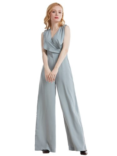 Women's Jumpsuit Sexy Sleeveless V Neck Solid Color Cross Design