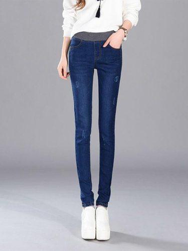 Women's Jeans Elastic Denim Slim High Waist Casual Solid Color Pocket