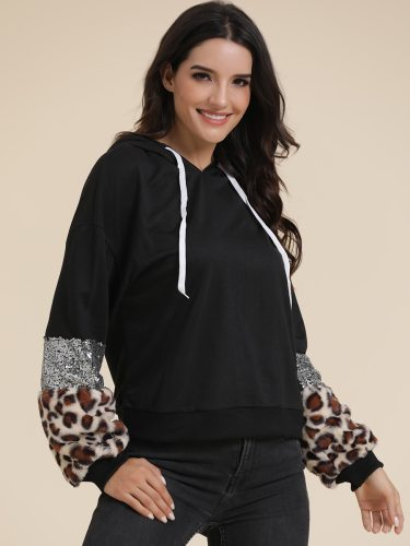 Women's Hoodie Fashion Sequins Patchwork Leopard Casual Long Sleeve Hooded