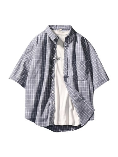 Men's Shirt Plaid All Match Breathable Comfy Design Turn Down Collar Fashion Print Short Sleeve