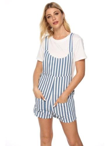 Women's Playsuit Pocket Mid Waist Patchwork Sweet Sleeveless Striped Mini