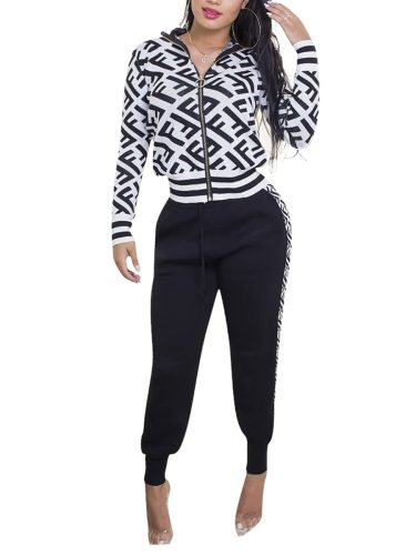 Women's 2Pcs Letter Print Jacket Casual Floral Print Mid Waist Long Sleeve Zipper Sporty V Neck Slim