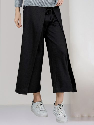 E·BECKY Women's Solid Color Wide Leg Casual Loose Mid Waist