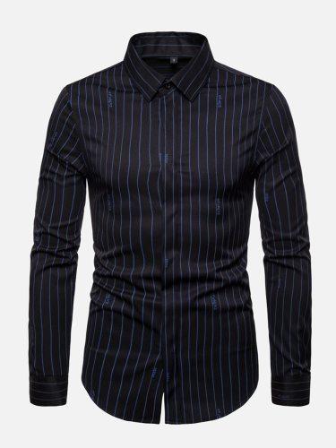 Men's Shirt Striped Work Long Sleeve Turn Down Collar Fashion