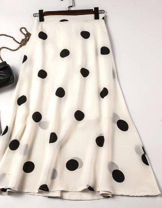 Women's Skirts Polyester/Acrylic Basics Polyester Polka Elegant Polka Dot