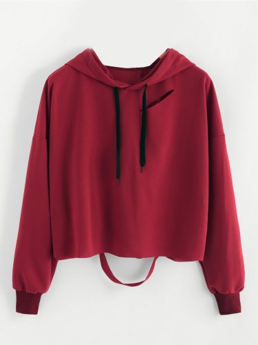 Women's Hoodie Solid Color Hole Long Sleeve Short Hooded Casual