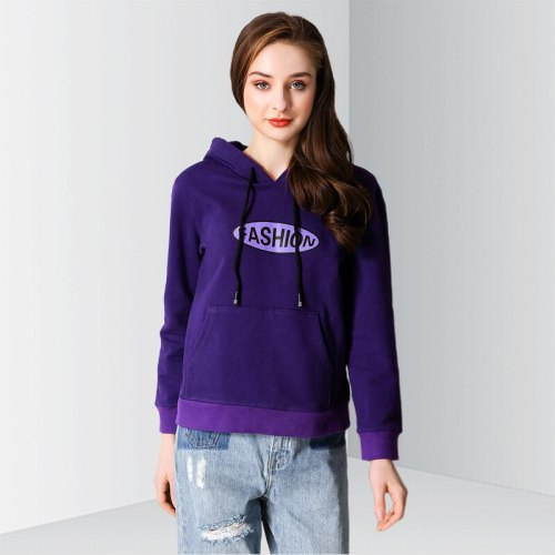 E·BECKY Women's Hoodie Letter Color Block Long Sleeve Hooded Loose The various accessories in the picture are for shooting and are not included in