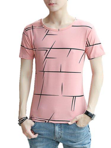 Men's T Shirt Striped Slim Short Sleeve Crew Neck Casual