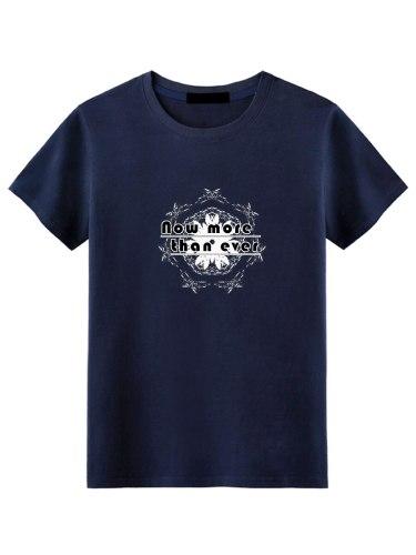Men's T Shirt Letter Slim Crew Neck Short Sleeve Fashion