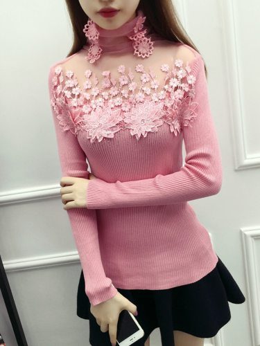 Women's Sweater Lace Patchwork Long Sleeve Rhinestone Short Sleeve Slim Stand Collar