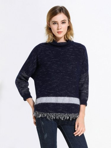 EBECKY Women's Sweater Style Decor All Match Turtle Neck Long Sleeve Loose Tassel