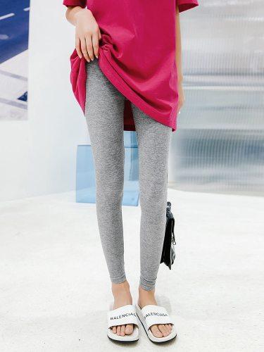 Women's Leggings Elastic Waist All Match Breathable Sporty Slim Ninth Solid Color High Waist