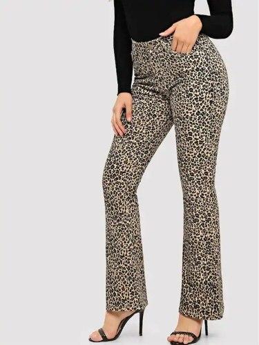 Women's Fashion Pocket Multi-Pockets Slim Button Wide Leg Pants Top Fashion Leopard Mid Waist