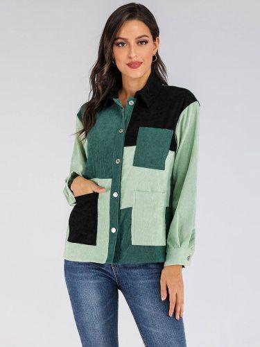 Women's Shirt Pocket Button Casual Turn Down Collar Long Sleeve Patchwork