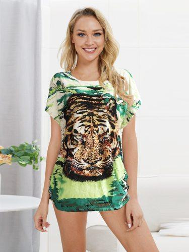 Women's T Shirt Print Short Sleeve Long Floral Print Crew Neck Street Style Loose