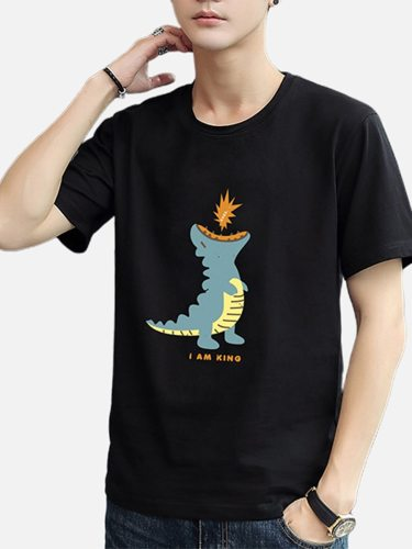 Men's T shirt Cartoon Print Short Sleeve Crew Neck Fashion