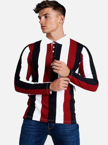 Men's Polo Shirt Causal Long Sleeve Striped Turn Down Collar Casual