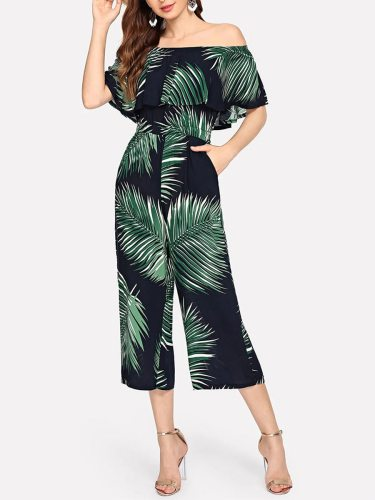 Women's Jumpsuit Slash Neck Fashion Loose Casual Off Shoulder Patchwork Mid Waist Sleeveless Simple Midi Plant