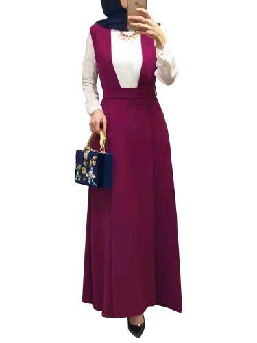 Women's Suspender Skirt Simple Long Sweet Slim Maxi High Waist Solid Color