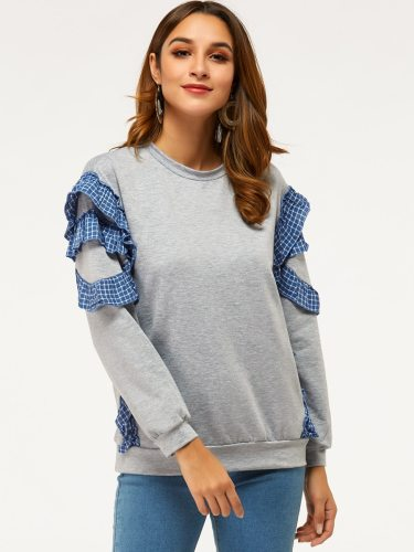 Women's Sweatshirt Plaid Long Sleeve Crew Neck Patchwork Solid Color Casual