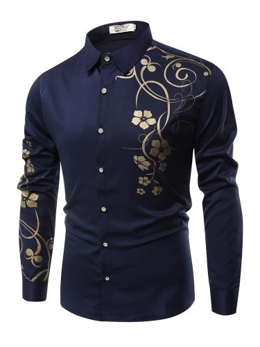 Men's Shirt Fashion Floral All Match Long Sleeve Print Casual Turn Down Collar