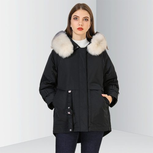 OCEAN Women's Down Coat Warm Embroidery Long Sleeve Loose OL&Feminine OL The various accessories in the picture are for shooting and are not included