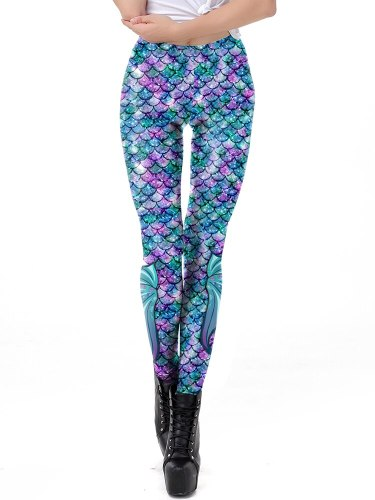 Women's Leggings Fashion Sport Low Waist Casual Floral Print Ninth Slim
