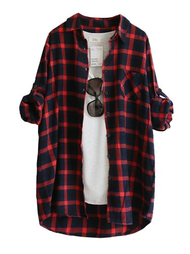 Women's Shirt Plaid Long Sleeve Loose Checkered The glasses and T shirt are not included Turn Down Collar Casual Button