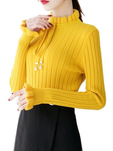 Women's Sweater Crew Neck Solid Color Belt Casual Simple Patchwork Long Sleeve Scoop Neck