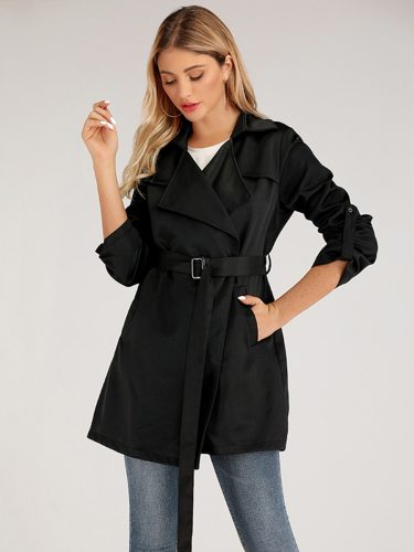 Women's Trench Coat Long Sleeve Belt lacing Notched Collar OL&Feminine OL Solid Color