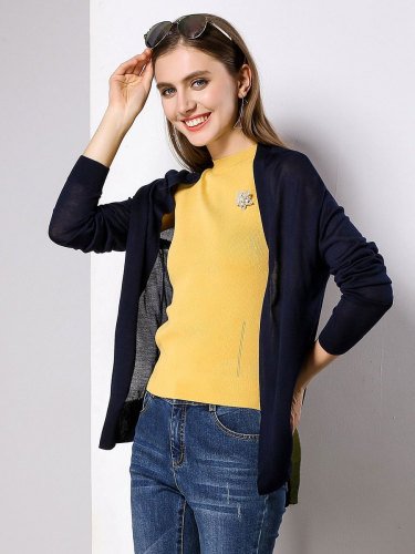 E•BECKY Women's Cardigan Color Design OL&Feminine OL The various accessories in the picture are for shooting and are not included in the products