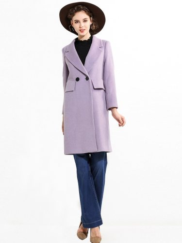 EBECKY Women's Wool Coat Plain Style Color Slim Pattern Fashion Double Breasted Solid Pocket The accessories in the picture are for shooting and are