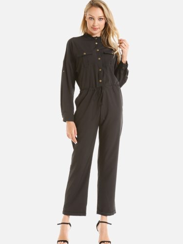 Women's Playsuit Single Breasted Long Sleeve Solid Color Stand Collar Simple Slim