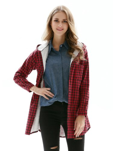 Plus Size Faux Shearling Winter Hooded Loose Long Sleeve Single Breasted Plaid