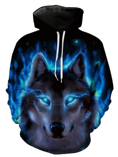 Men's Hoodie Wolf Pattern Cool Mens Long Sleeve Print Fashion Loose Hooded