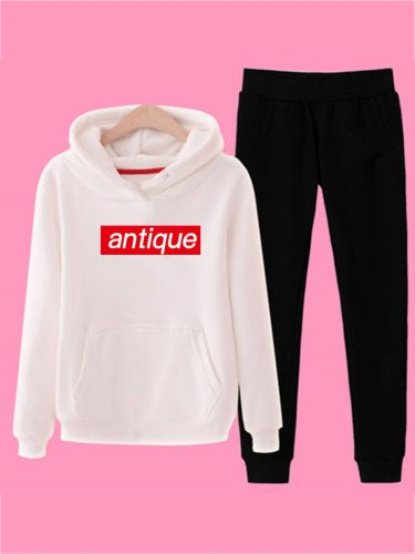 Women's 2Pcs Pants Set Letter Print Hoodie Casual Peg Long Sleeve Solid Color Top Fashion Mid Waist