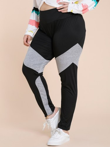Women's Leggings Fashion Casual Sporty Slim Mid Waist Patchwork