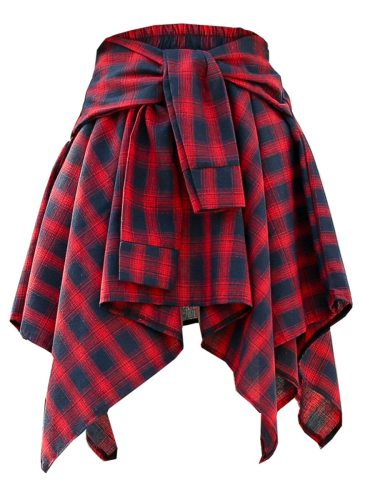 Women's Asymmetrical Skirt Elastic Waist Plaid Pattern Geometry Sweet Mini Mid Waist