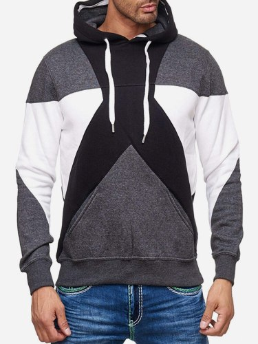 Men's Hoodie Color Block Pocket School Long Sleeve Hooded Casual Plus Size Patchwork