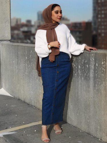Women's Denim Skirt Buttons Pencil Sweet Maxi Solid Color High Waist Slim