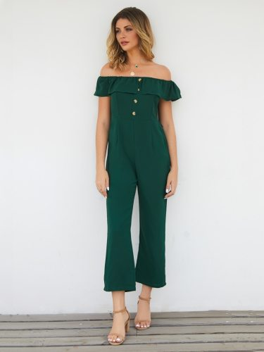 Women's Jumpsuit Button Casual High Waist Slash Neck Solid Color Slim